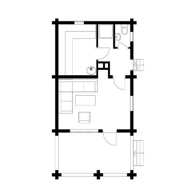 """Rąstinio namo """"Nėris"""" 25 m2 išplanavimas"""