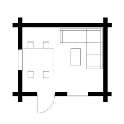 UAB Log Villa 16m2 rąstinio namo išplanavimas
