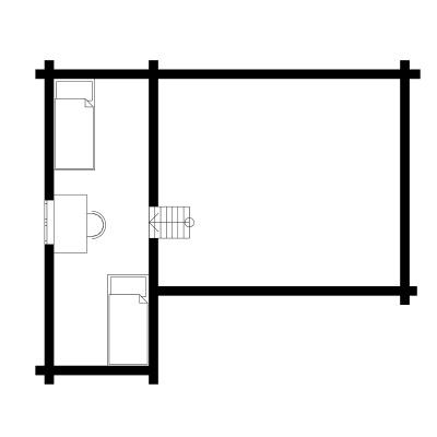 UAB Log Villa 47m2 2 aukšto išplanavimas