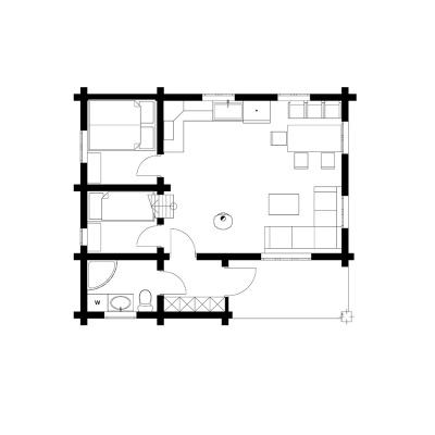 UAB Log Villa 47m2 1 aukšto išplanavimas