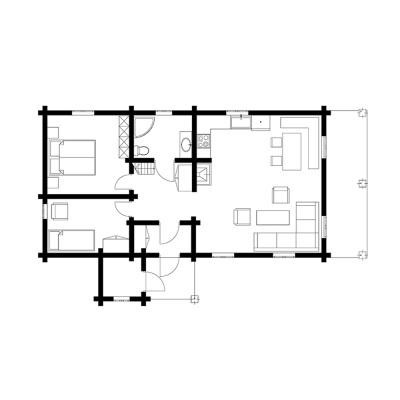 UAB Log Villa 63m2 namo išplanavimas