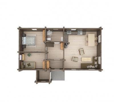 UAB Log VIlla 63 m2 namo isplanavimas