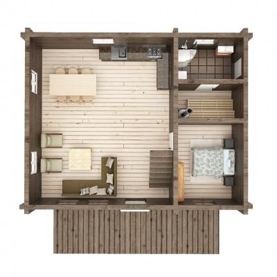UAB Log Villa 103 m2 Rąstinis namas. 1 aukšto išplanavimas
