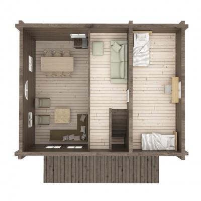 UAB Log Villa 103 m2 Rąstinis namas. 2 aukšto išplanavimas
