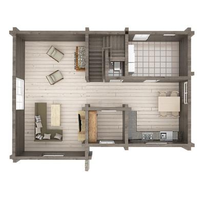 """115 m2 rąstinio namo """"Mūša"""" 1 aukšto išplanavimas"""