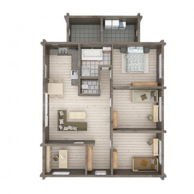 UAB Log Villa 120 m2 rąstinio namo Mūša 1 aukšto išplanavimas