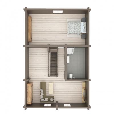 UAB Log Villa 103 m2 rąstinio namo 2 aukšto išplanavimas