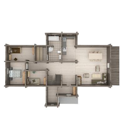 153m2 rąstinio namo išplanavimas, 1 aukštas