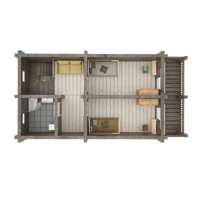 153m2 rąstinio namo išplanavimas, 2 aukštas