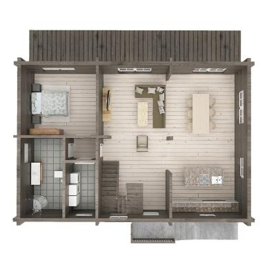 """175 m2 rąstinio namo """"Lėvuo"""" 1 aukšto išplanavimas"""