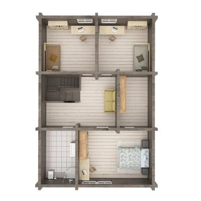 """175 m2 rąstinio namo """"Lėvuo"""" 2 aukšto išplanavimas"""