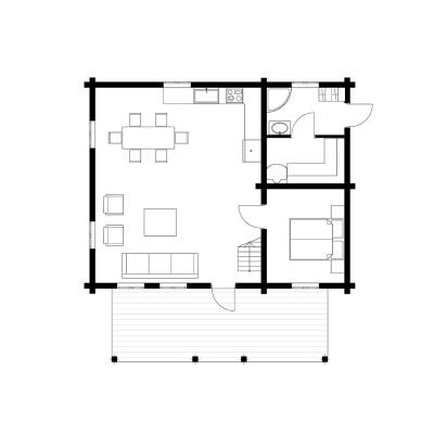UAB Log Villa 103 m2 namo išplanavimas. 1 aukštas