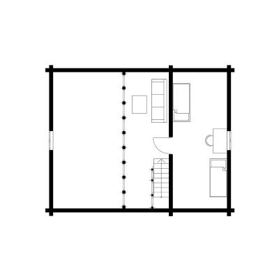 UAB Log Villa 103 m2 namo išplanavimas. 2 aukštas