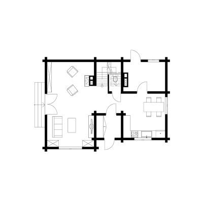 UAB Log Villa 115m2 namo išplanavimas, 1 aukštas