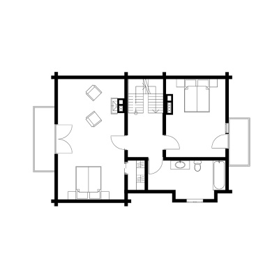 """115 m2 rąstinio namo """"Mūša"""" 2 aukšto išplanavimas"""