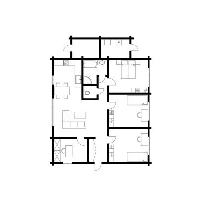UAB Log Villa 120 m2 namo išplanavimas