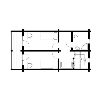 UAB Log Villa 153 m2 išplanavimas, 2 aukštas