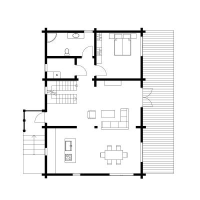 UAB Log Villa 175 m2 rąstinio namo 1 aukšto išplanavimas