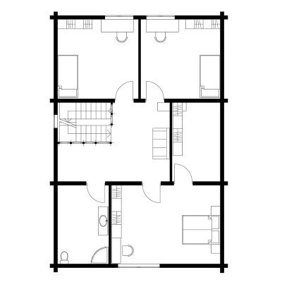 UAB Log Villa 175 m2 rąstinio namo 2 aukšto išplanavimas
