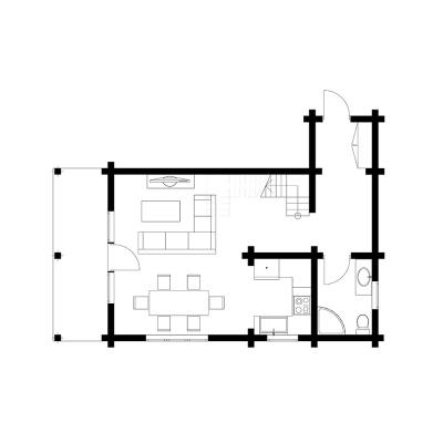 UAB Log Villa 80m2 namo išplanavimas, 1 aukštas