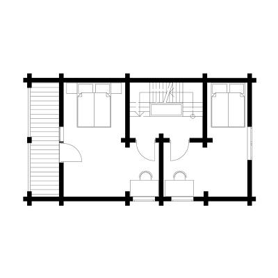 UAB Log Villa 80 m2 rąstinis namas Ūla. 2 aukšto išplanavimas.