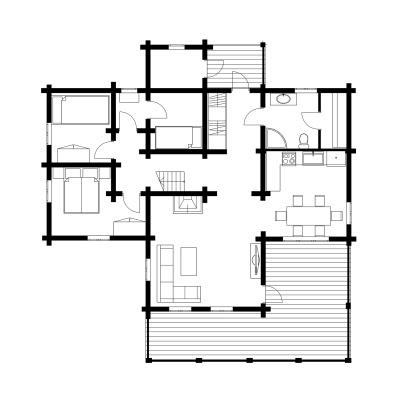 UAB Log Villa 95 m2 rąstinio namo Nemunas išplanavimas