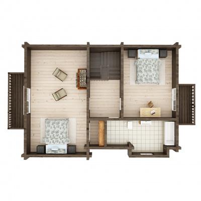 UAB Log Villa 115 m2 rąstinio namo Mūša 2 aukšto išplanavimas