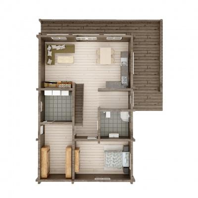 UAB Log Villa 103 m2 rąstinio namo 1 aukšto išplanavimas