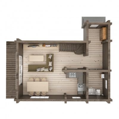 UAB Log VIlla UAB Log Villa 80 m2 rąstinio namo 1 aukšto išplanavimas