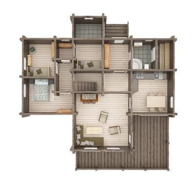 UAB Log Villa 95 m2 rąstinis namas Nemunas